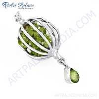 Excellent New Fashion Prenite Gemstone Silver Pendant, 925 Sterling Silver Jewelry