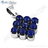 Elegant Fancy Lapis Lazuli Gemstone Silver Pendant