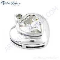 Lovely Heart Style Cz Silver Pendant, 925 Sterling Silver Jewelry