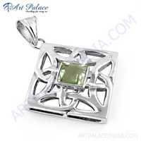 Indian Fret Work Silver Green Amethyst Gemstone Pendant