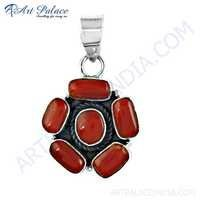 Hot Coral Gemstone Silver Pendant, 925 Sterling Silver Jewelry