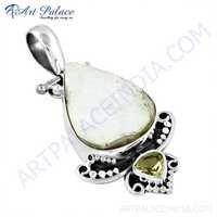 Popular Design Citrine & White Druzy Gemstone Silver Pendant