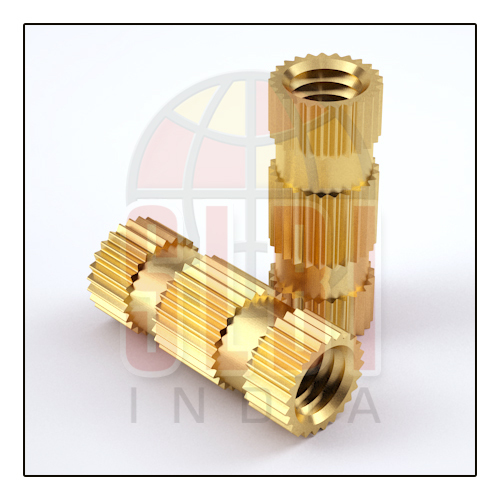 Straight Knurling Brass Long Inserts