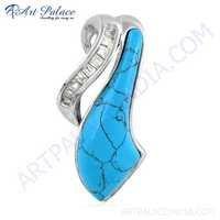 Fashionable CZ & Synthetic Turquoise Gemstone Silver Pendant