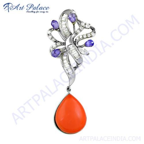 Lastest Luxury Amethyst Zircon & Cubic Zirconia & Coral Silver Pendant