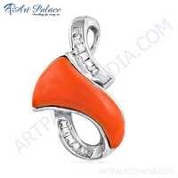 Newest Style Coral & Cubic Zirconia Gemstone Silver Pendant