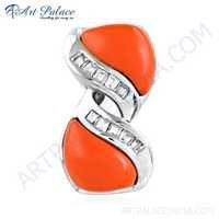 Stylish 925 Sterling Silver Pendant With Coral & Cubic Zirconia