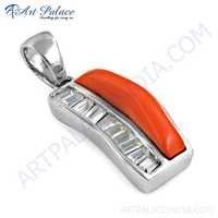 Fashion Accessories Coral & Cz Gemstone Silver Pendant