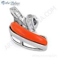 Top Quality Coral & CZ Gemstone Silver Pendant