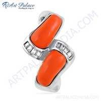Newest Style Gemstone Silver Pendant With Coral & Cubic Zirconia