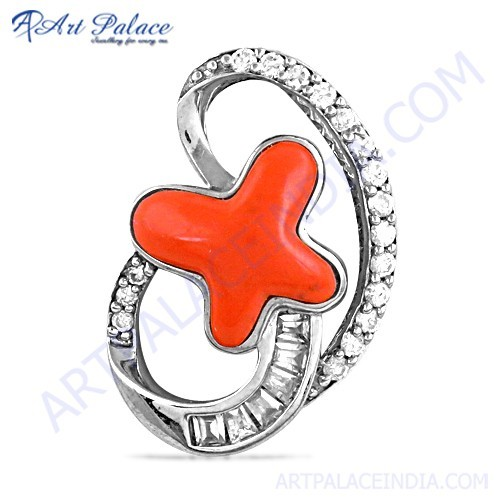Rocking Star Coral & Cubic Zirconia Gemstone Silver Pendant