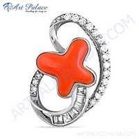 Rocking Star Coral & Cubic Zirconia Gemstone Silver Pendant