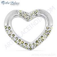 Attractive Heart Style CZ Gemstone Silver Pendant