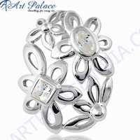 Fret Work Designer Cubic Zirconia Gemstone Silver Pendant