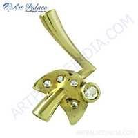 Latest CZ Gemstone Gold Plated Silver Pendant