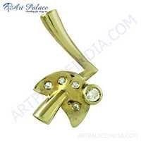Latest CZ Gemstone Gold Plated Silver Pendant
