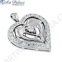 Antique Heart Style Cubic Zirconia Gemstone Silver Pendant