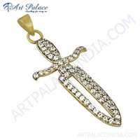 Fashionable Sword Style CZ Gemstone Gold Plated Silver Pendant