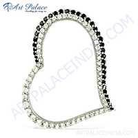 Cute Heart Style Black & White CZ Gemstone Silver Pendant