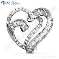 Antique Heart Style CZ Gemstone Silver Pendant