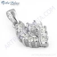 Antique Style Silver Pendant With Cubic Zirconia, 925 Sterling Silver Jewelry