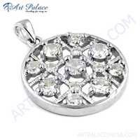 New Fashionable Silver Fret Work Pendant With Cubic Zirconia