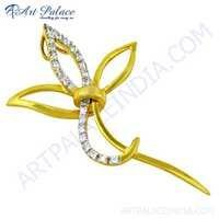 Celeb Style CZ Gemstone Gold Plated Silver Pendant