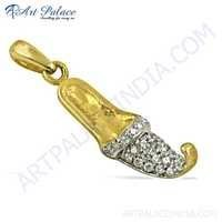 Antique Style CZ Gemstone Gold Plated Silver Pendant