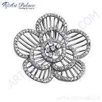 Delicate Flower Style CZ Gemstone Silver Pendant