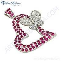 Lovely Heart With Butterfly CZ Gemstone Silver Pendant