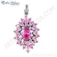 Lovely Pink Cubic Zirconia Gemstone Silver Pendant