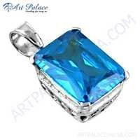 Classy Blue Cubic Zirconia Gemstone Silver Pendant