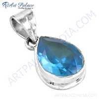 Sparkling Blue Cubic Zirconia Gemstone Silver Pendant
