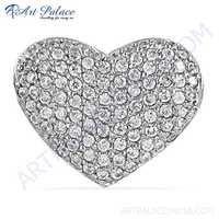 Charming Heart Style CZ Gemstone Silver Pendant