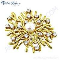 Rocking Style CZ & Pearl Gemstone Gold Plated Silver Pendant