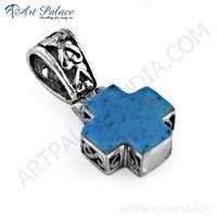 Fashionable Inley Gemstone Silver Pendant