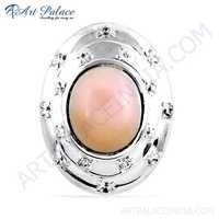 Indian Touch Cubic Zirconia & Pink Opalite Gemstone Silver Pendant