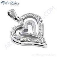 Couple Heart Style Silver Pendant With Cubic Zirconia