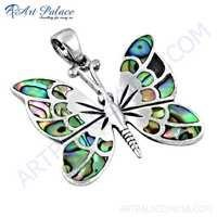 Beautiful Butterfly Silver Pendant With Inley