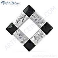 Fashionable Gemstone Silver Pendant With Black Onyx