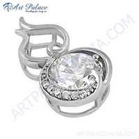 Antique Style Cubic Zirconia Gemstone Silver Pendant