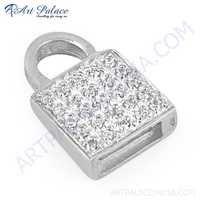 Stylish Cubic Zirconia Gemstone Silver Pendant