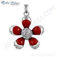Attractive Flower Style Cubic Zirconia & Synthetic Coral Gemstone Silver Pendant