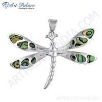 Dragonfly Style Silver Pendant With Inley
