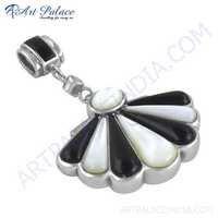 New Arrival Black Onyx, Ziconia & Pearl Silver Pendant