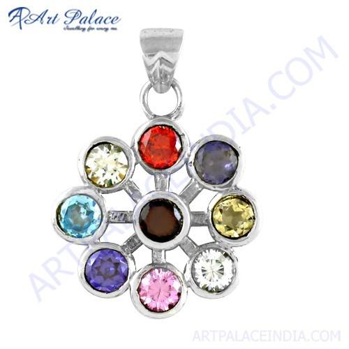 Hot! Dazzling Multi Stone Silver Pendant