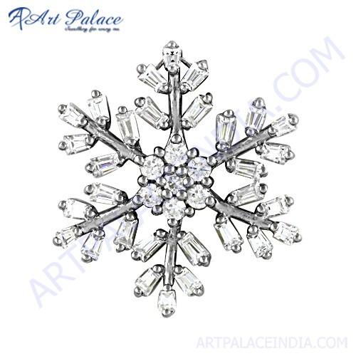 Attractive Cubic Zirconia Gemstone Silver Pendant