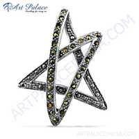 Star Shape Gun Metal Gemstone Silver Marcasite Pendant