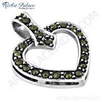 Stylish Heart Shape Gun Metal Gemstone Silver Pendant