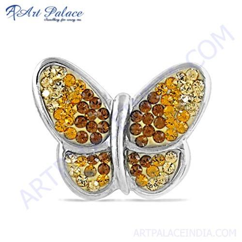 Cute Butterfly Style Yellow Zircon Silver Pendant